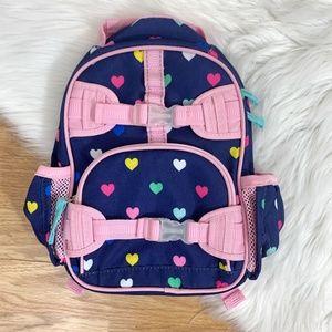 Pottery Barn Kids Girls Heart Print Backpack EUC